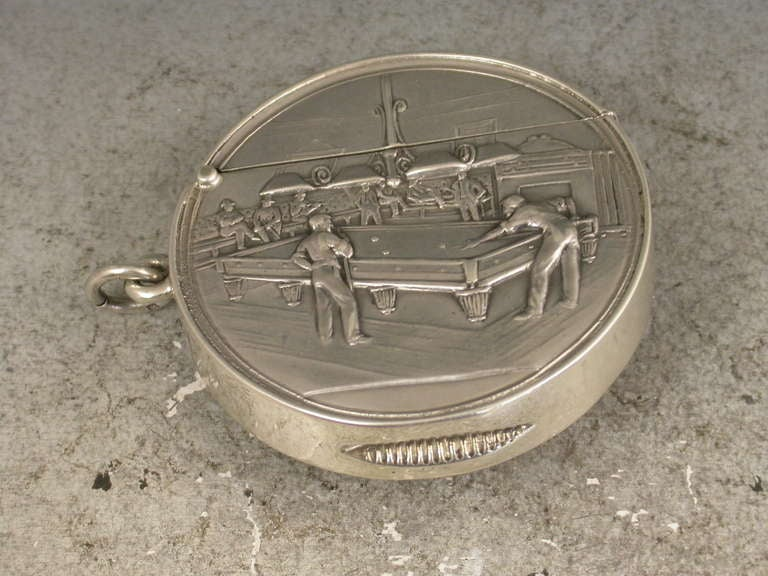 English Rare Edwardian Documentary Silver Billiards Vesta Case For Sale