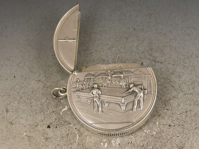 20th Century Rare Edwardian Documentary Silver Billiards Vesta Case For Sale