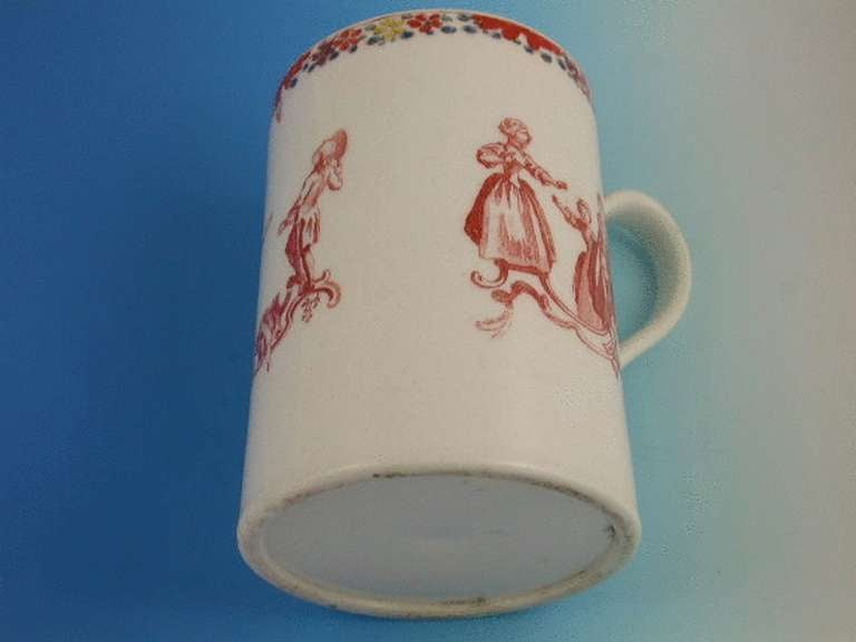 Bow Mug Children's Games Blind Mans Buff circa 1755-1756 In Excellent Condition For Sale In Sittingbourne, Kent