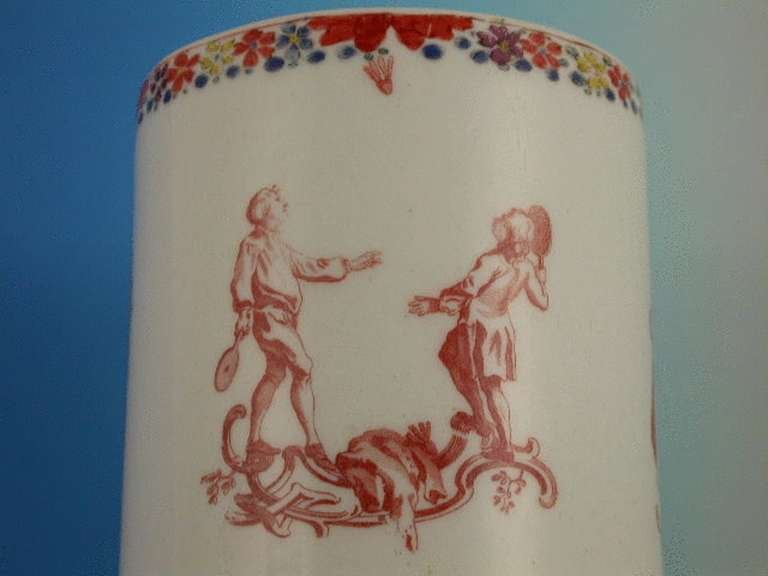 Ceramic Bow Mug Children's Games Blind Mans Buff circa 1755-1756 For Sale