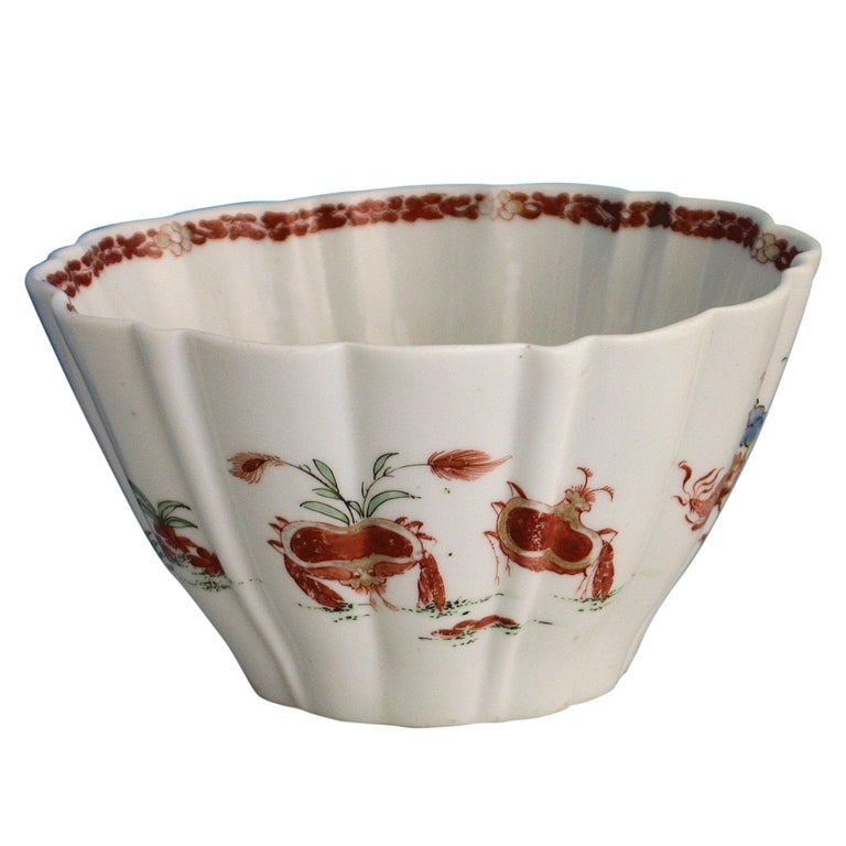 Early Worcester Red Crabs Pattern Bowl