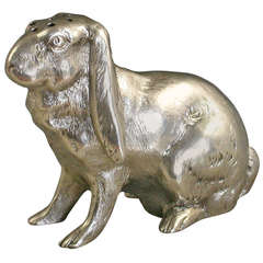 Victorian Novelty Silver English Lop Eared Rabbit Pepper