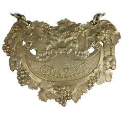 Fine George III Cast Silver Gilt Leopards Pelt Wine Label 'Claret'