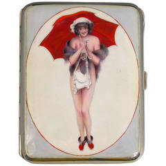 German Silver and Enamel Cigarette Case with a Girl and Her Red Umbrella