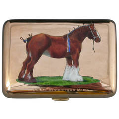 George V 9-Karat Gold and Enamel Cigarette Case with the Champion Shire Horse