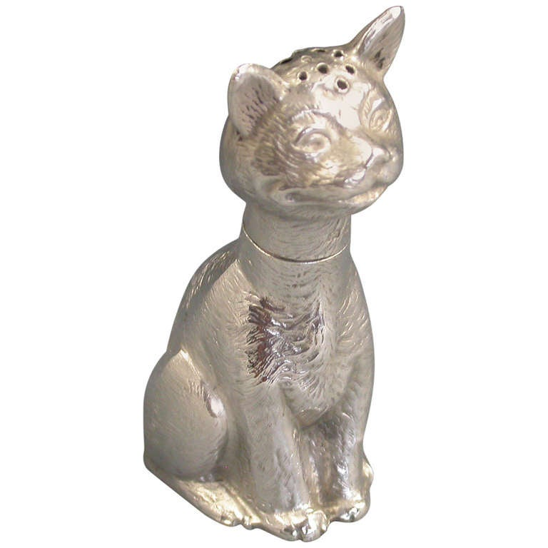 Edwardian Silver Registered Design Comical Cat Pepper