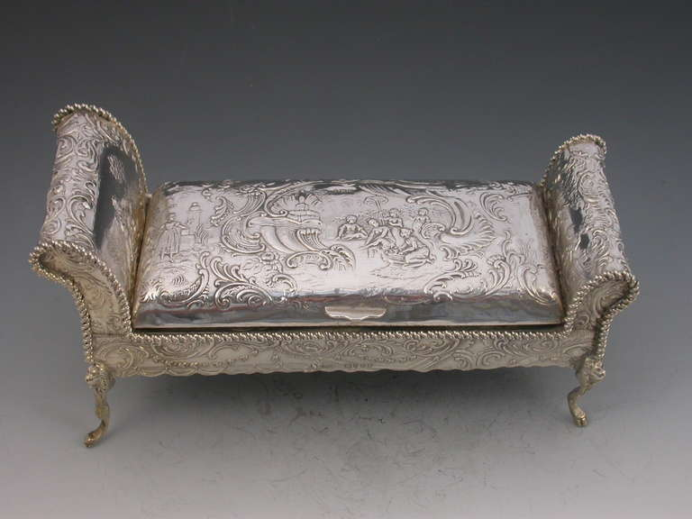Victorian novelty silver chaise longue inkstand at 1stdibs for Black and silver chaise longue