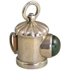 Victorian Novelty Silver Policeman's Bullseye Lantern Tape Measure