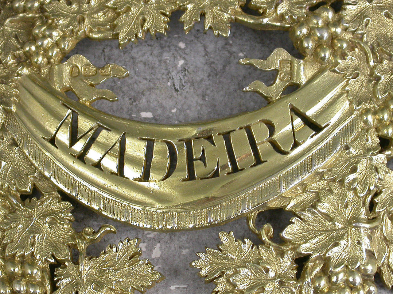George Iii Silver Gilt Wreath Wine Label Madeira For Sale