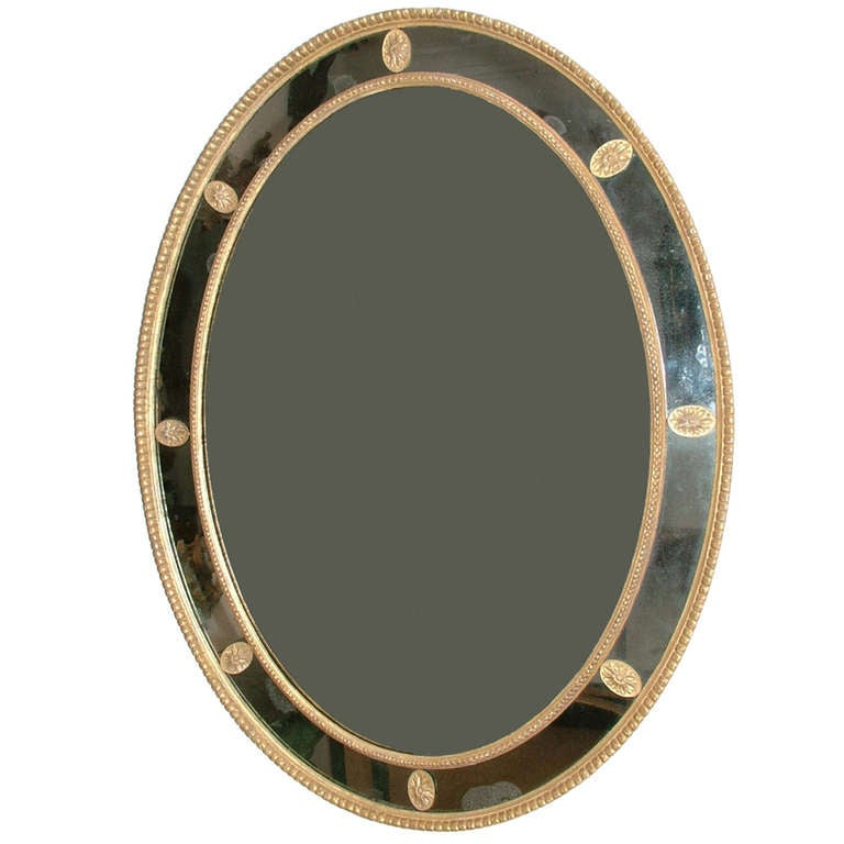 George III Giltwood Robert Adam Period Oval Borderglass Mirror