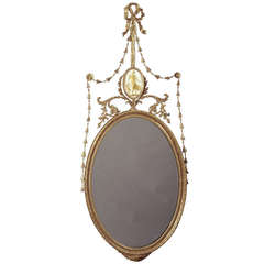 "George III Giltwood Robert Adam Perio ""Dressed"" Oval Mirror"