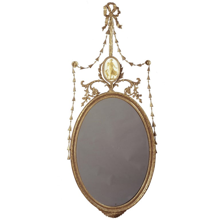 "George III Giltwood Robert Adam Period ""Dressed"" Oval Mirror"