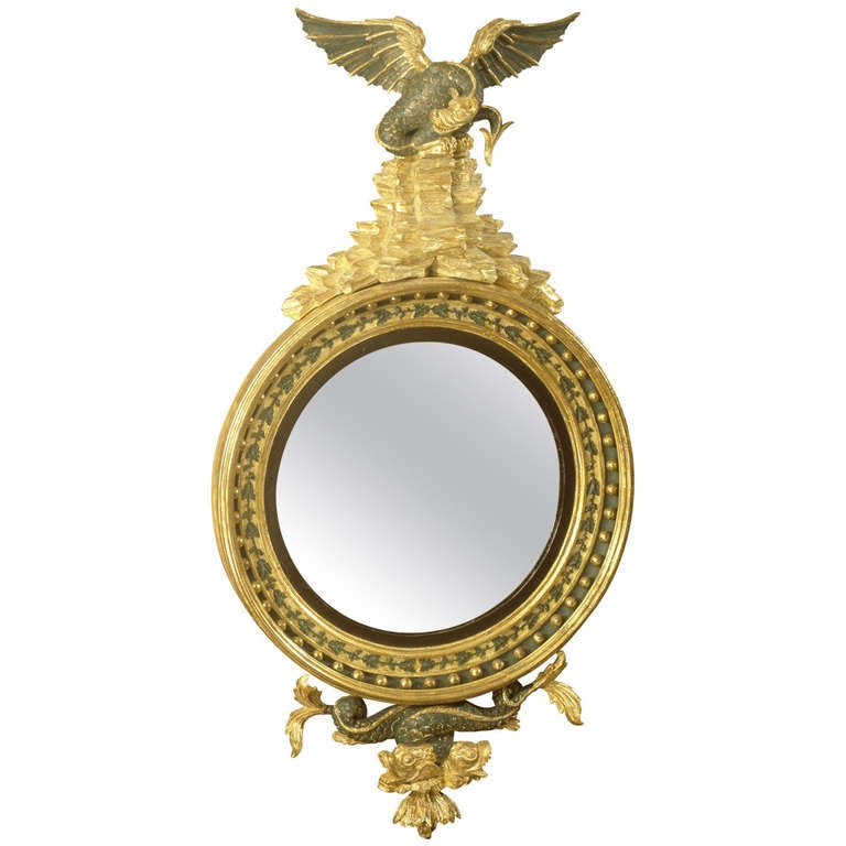 Giltwood and Painted Regency Period Convex Mirror