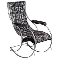 Steel and Leather Rocking Chair in the Manner of R.W Winfield