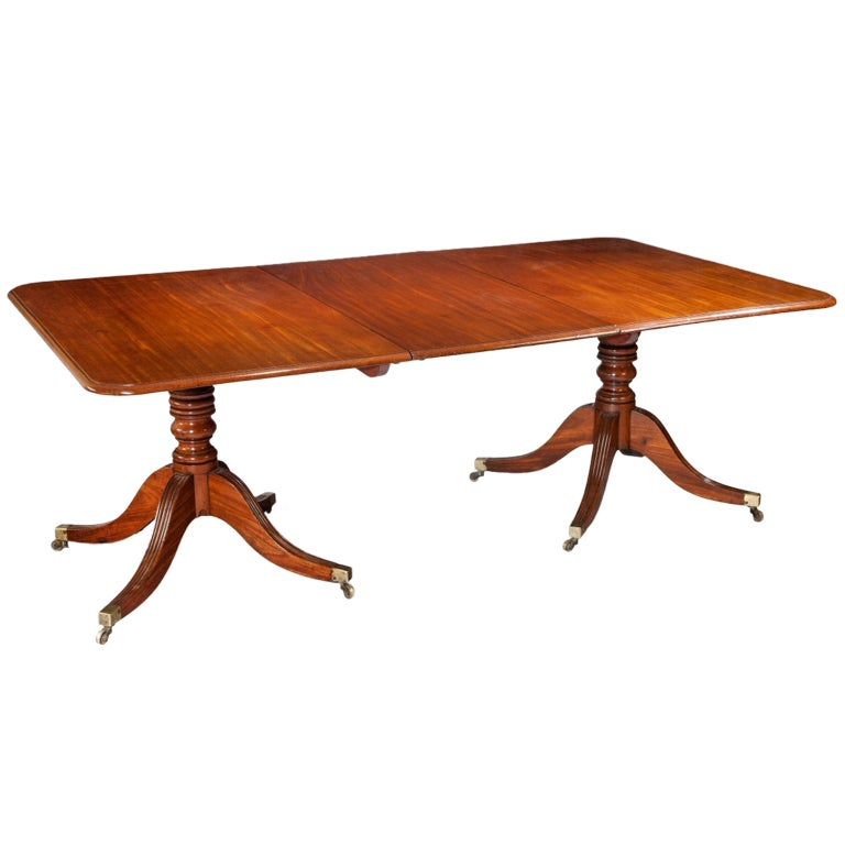 Georgian regency twin pillar antique dining table for sale for Pillar dining table