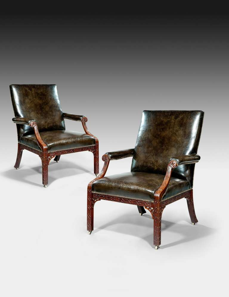 pair of george iii mahogany chippendale period armchairs. Black Bedroom Furniture Sets. Home Design Ideas