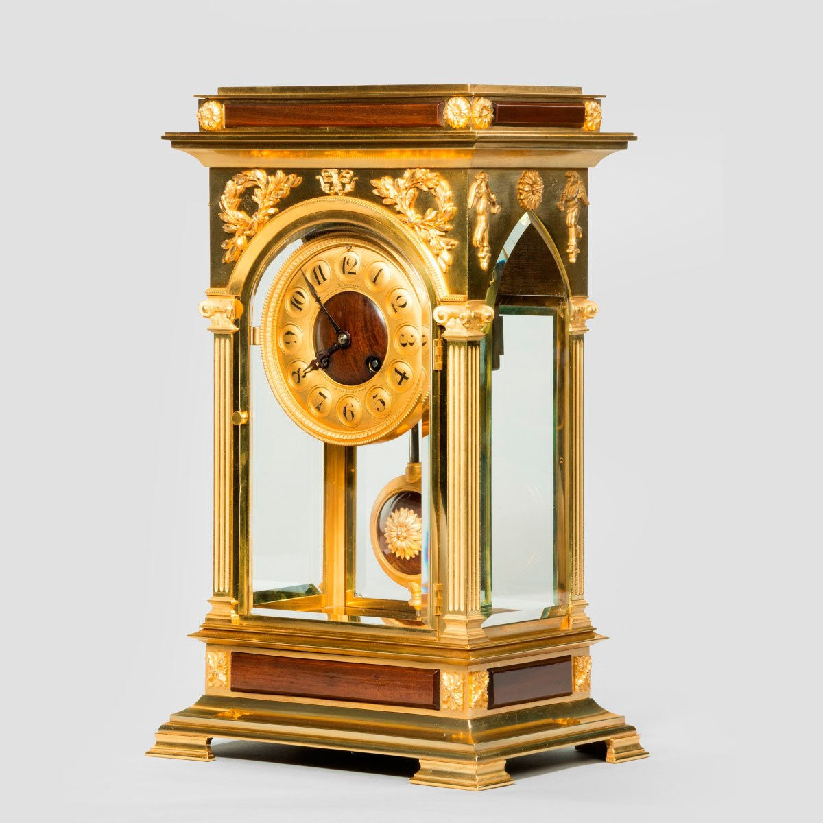 Unusual and superb quality rectangular four glass ormolu Unique clocks for sale
