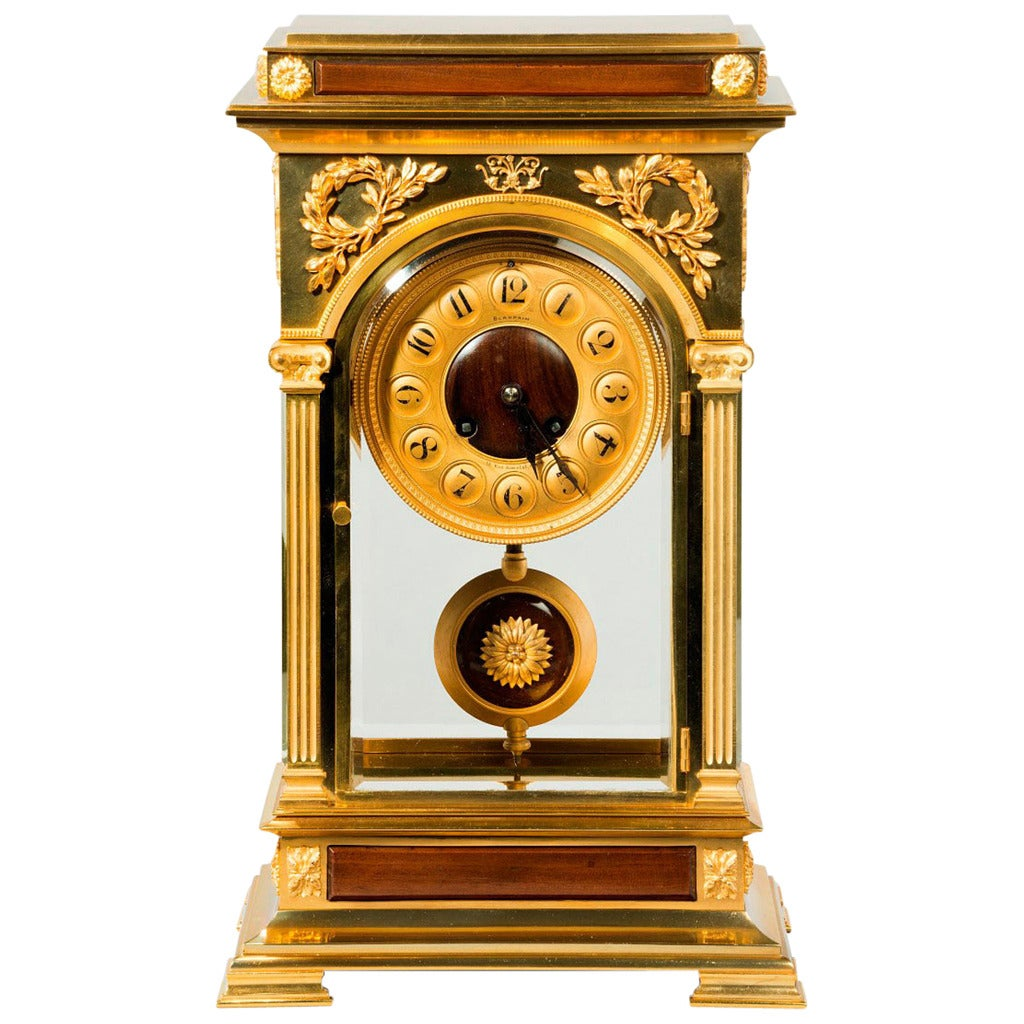 Unusual and superb quality rectangular four glass ormolu Unusual clocks for sale