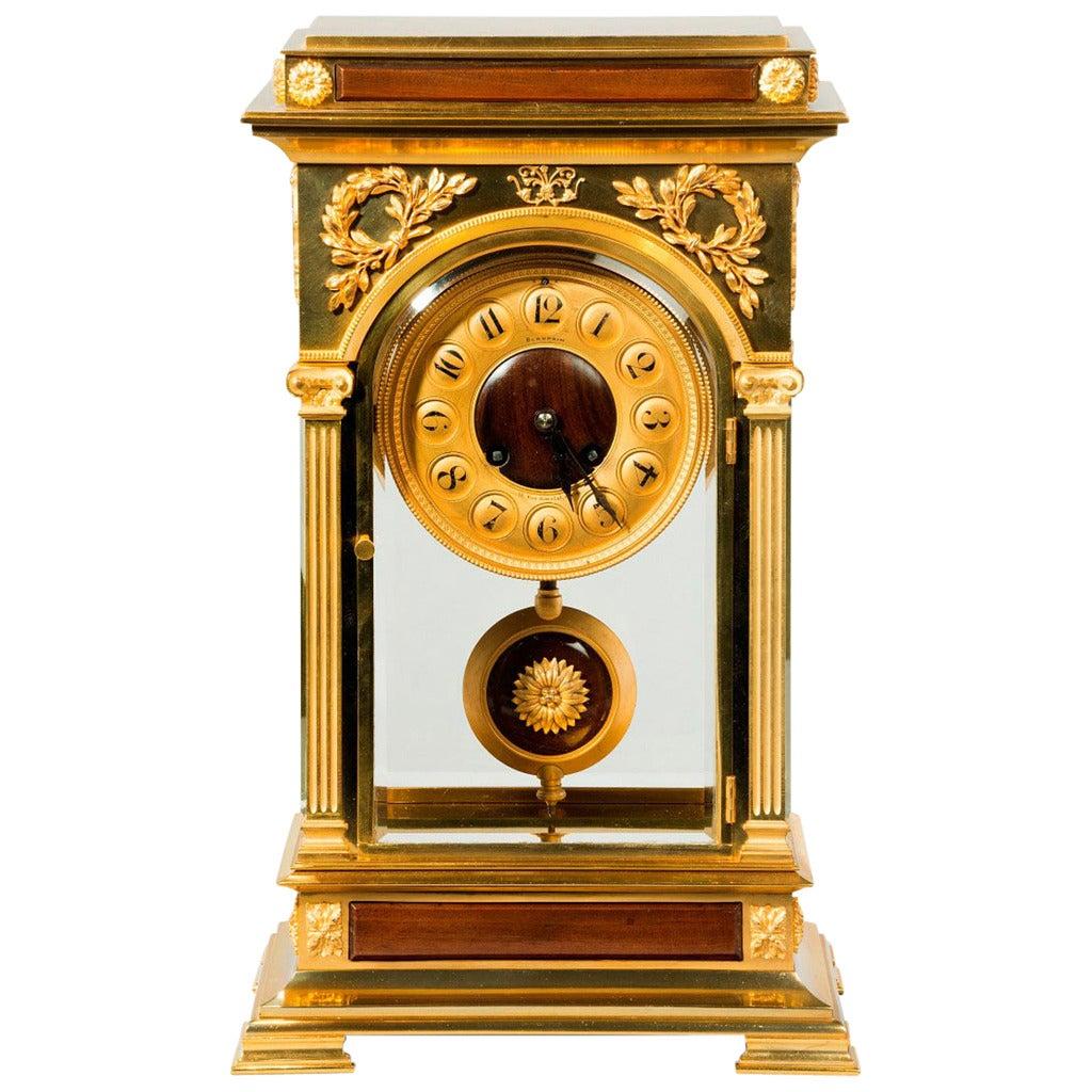 Unusual And Superb Quality Rectangular Four Glass Ormolu: unusual clocks for sale