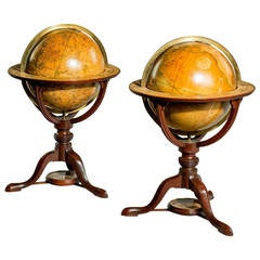 """Pair of Late George III 12"""" Library Table Globes by J. and W. Cary"""