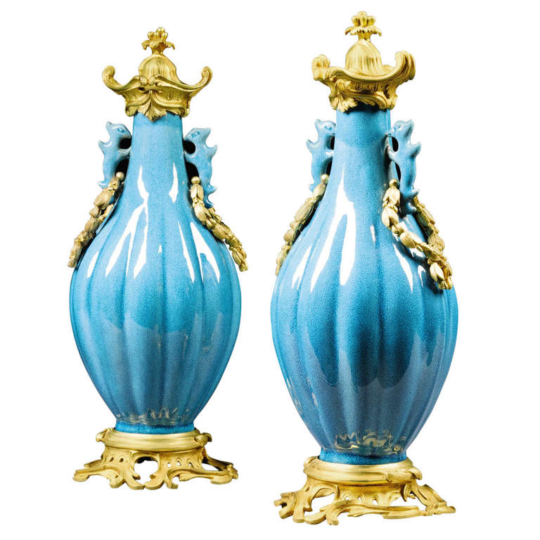 Pair of 18th Century Chinese Vases with 19th Century Mounts