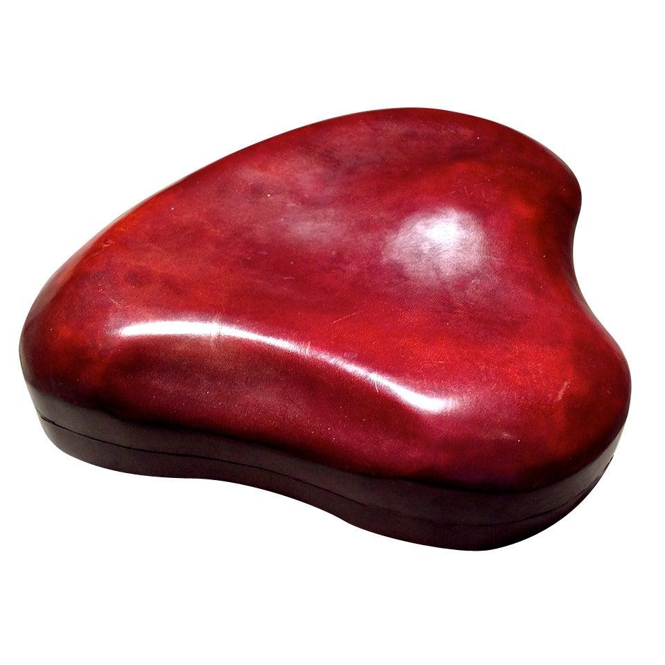Vintage Large Elsa Peretti Heart Shaped Leather Box For