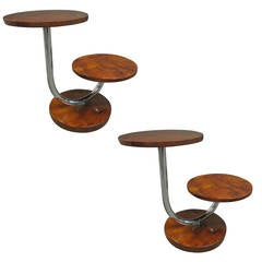 Pair of Donald Deskey Art Deco Walnut and Chrome Side Tables