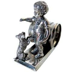 Silver Plated Figural Napkin Ring Victorian circa 1880