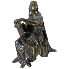 19th Century Bronze by Moreau Sitting Figure of a Lady 'Student or Scholar'