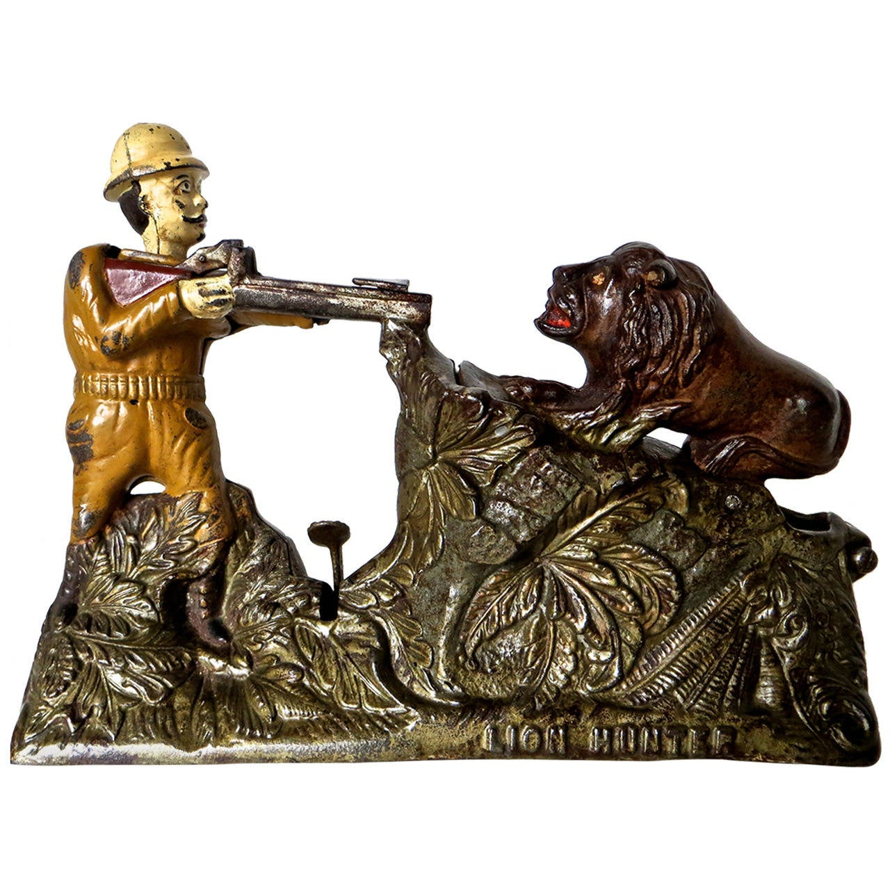 "Mechanical Bank ""Lion Hunter,"" American Toy, circa 1911 For Sale"