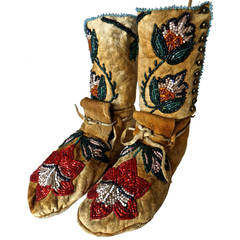 Pair of Plateau Beaded Child's High Top Moccasins, circa 1890
