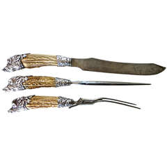 Carving Set with Antler Horned Handles & Boar's Head Sterling Silver, circa 1880