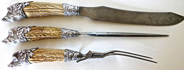 Carving Set With Antler Horned Handles And Boar S Head