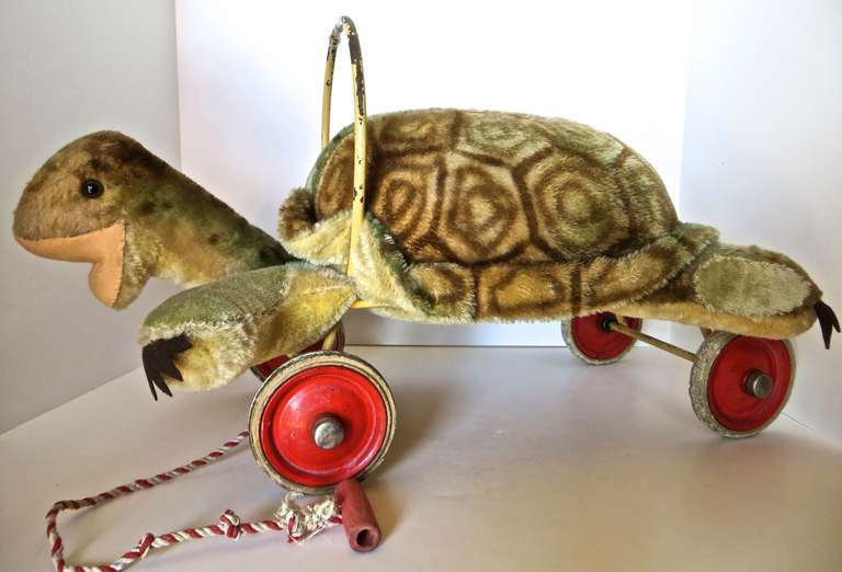 "Rare Steiff Turtle ""Sit on"" Pull Toy, circa 1950s 2"