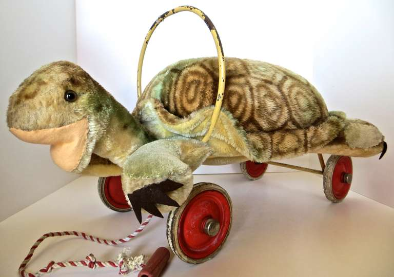 "Rare Steiff Turtle ""Sit on"" Pull Toy, circa 1950s 3"