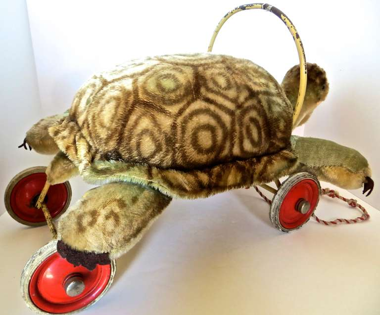 "Rare Steiff Turtle ""Sit on"" Pull Toy, circa 1950s 4"
