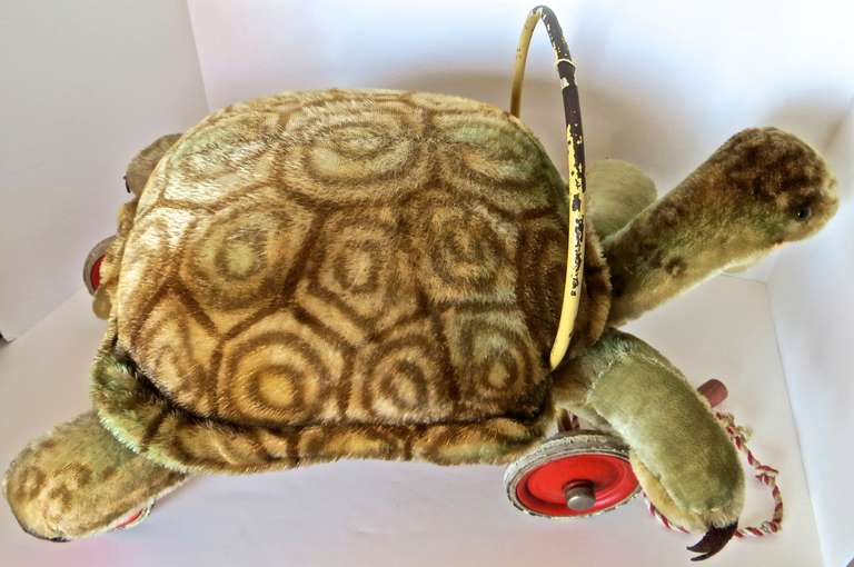 "Rare Steiff Turtle ""Sit on"" Pull Toy, circa 1950s 5"