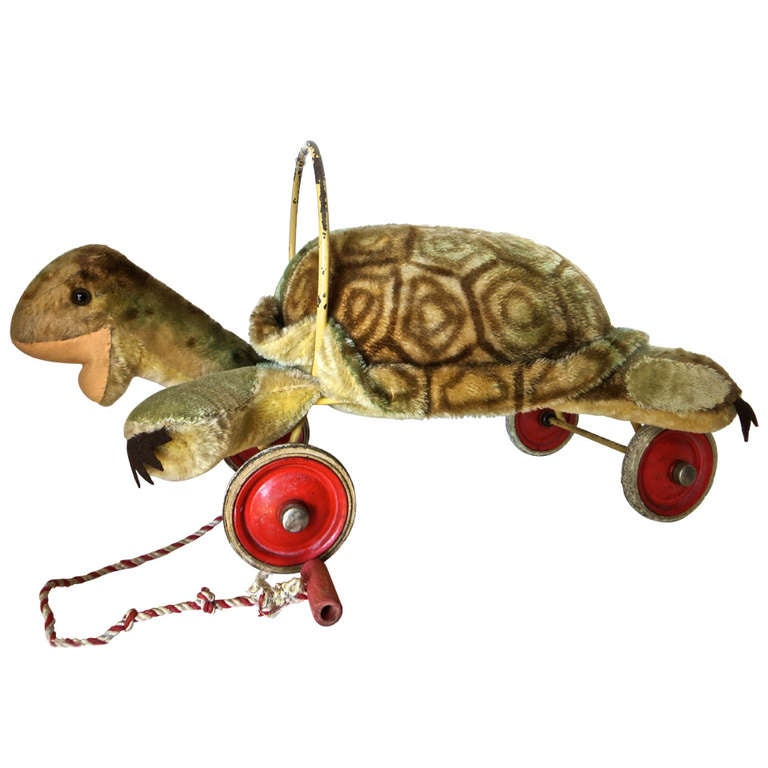 "Rare Steiff Turtle ""Sit on"" Pull Toy, circa 1950s 1"