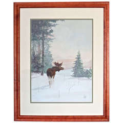 Watercolor of Grazing Moose in Yellowstone Park, by H. Adams. Dated 1907.