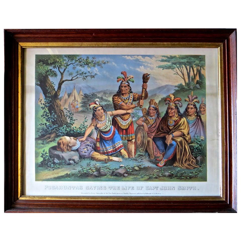 Pocahontas and John Smith, Chromo-Lithograph, Dated 1870, Rare
