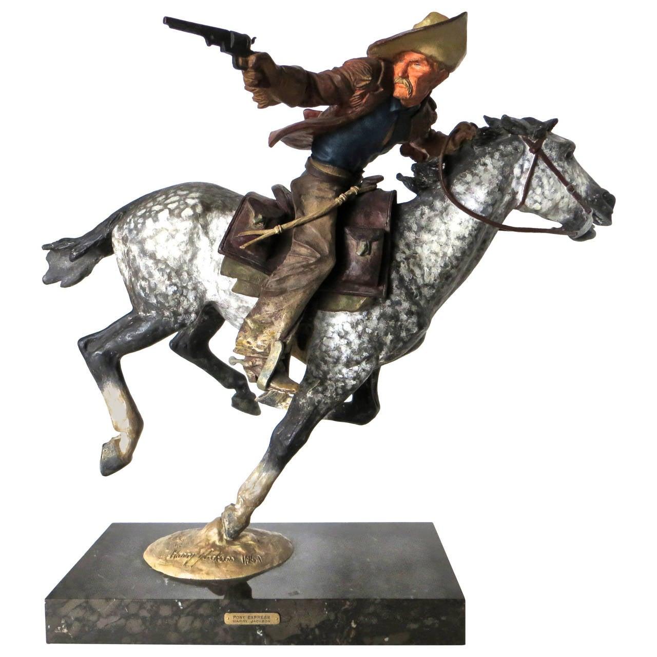 Bronze pony express by harry jackson artist model for Original sculptures for sale
