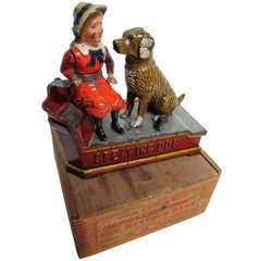 Mechanical Bank ,Speaking Dog', circa 1885 with Original Wooden Box