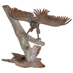 Folk Art Americana Iron Eagle on Driftwood Base, circa 1910