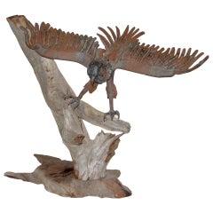 Folk Art Americana Iron Eagle on Driftwood Base, circa 1910