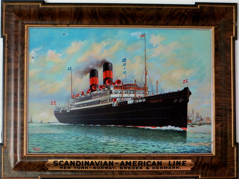 Advertising Self Framed Tin Sign for Steamship Company, circa 1920 For Sale
