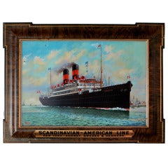 Advertising Self Framed Tin Sign for Steamship Company, circa 1920