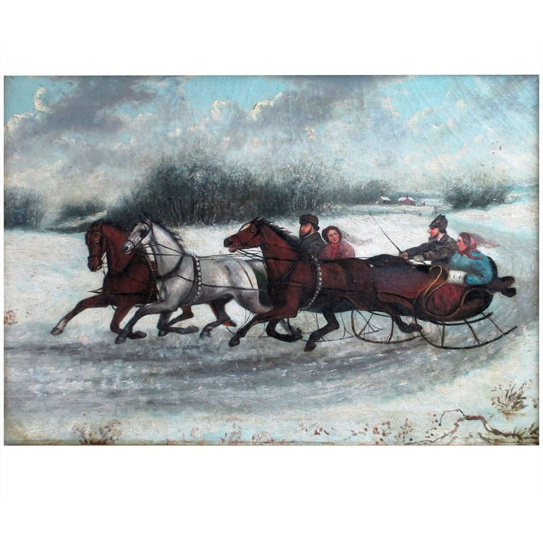 19th Century Russian Painting Winter Scene, circa 1880s Unsigned