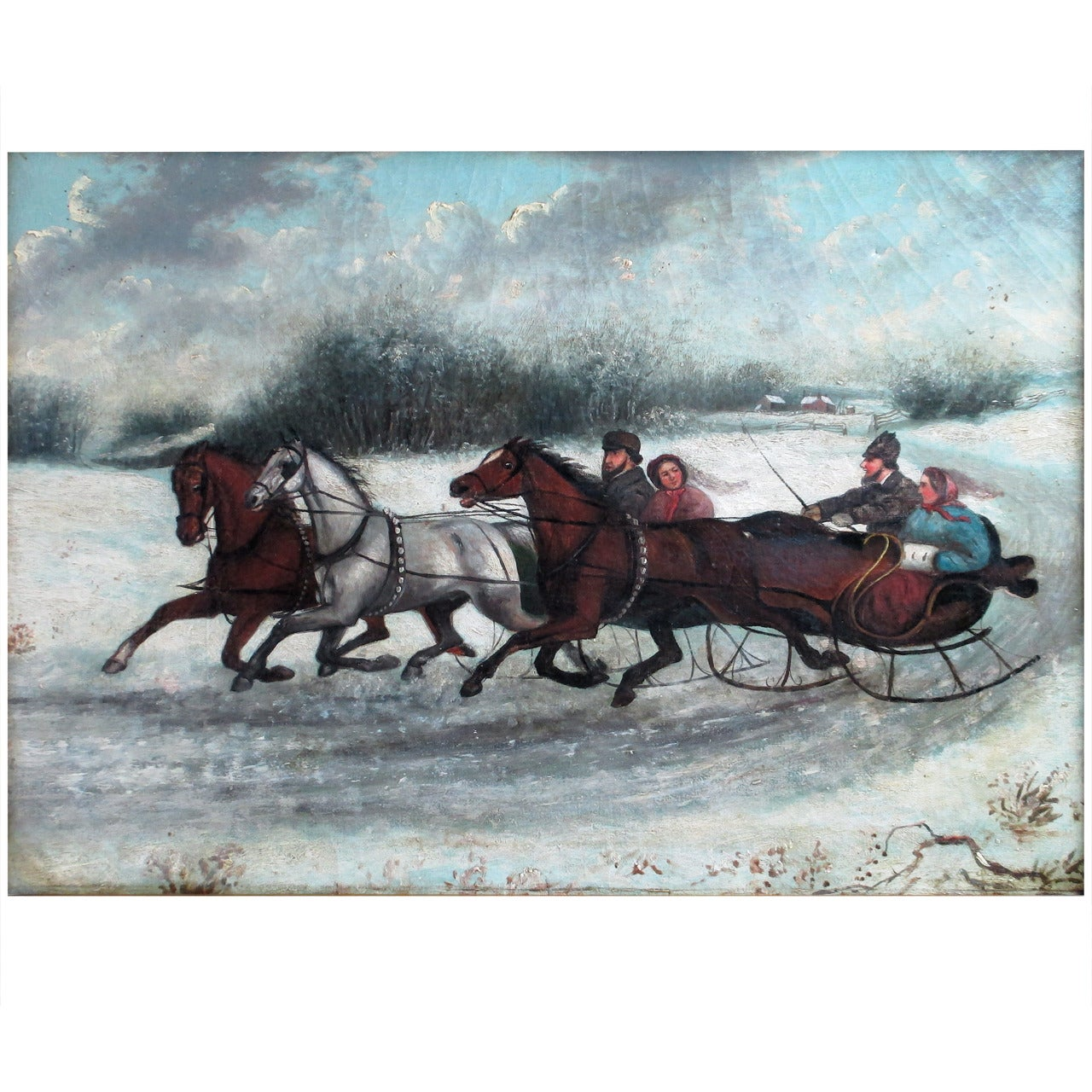 19th Century Russian Painting Winter Scene, circa 1870s Unsigned