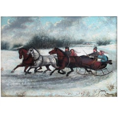 19th Century Russian Painting Winter Scene, circa 1880s Unsigned
