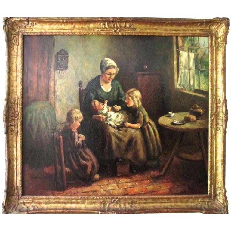 """""""La Familia"""" Oil on Canvas by Wouter Bouter, circa 1930"""